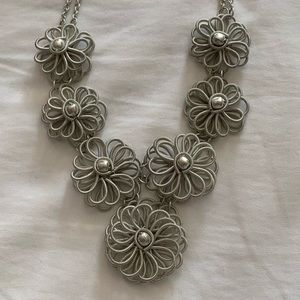 Silver Floral and Pearl Necklace